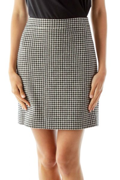 Black White Pencil Houndstooth Skirt