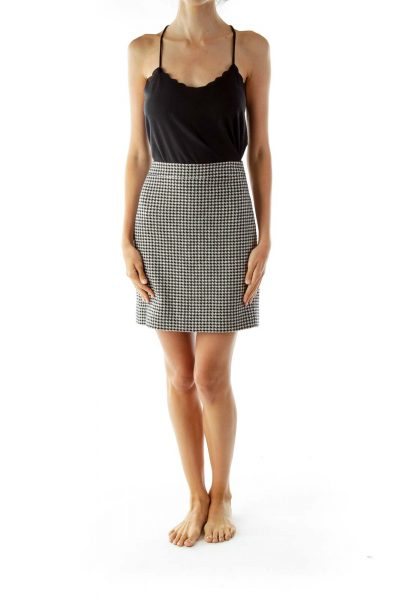 Black White Pencil Houndstooth Skirt