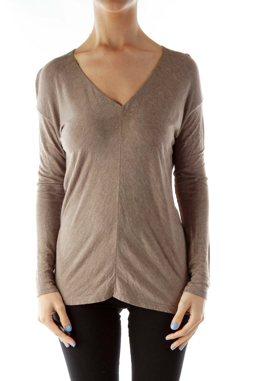 Brown Long Sleeve V-Neck Tunic