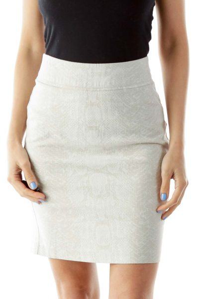 Cream Snake Skin Pencil Skirt