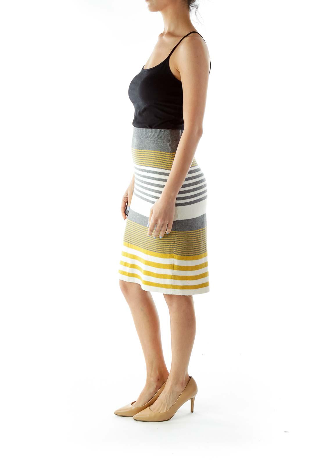 Yellow Gray Knit Pencil Skirt