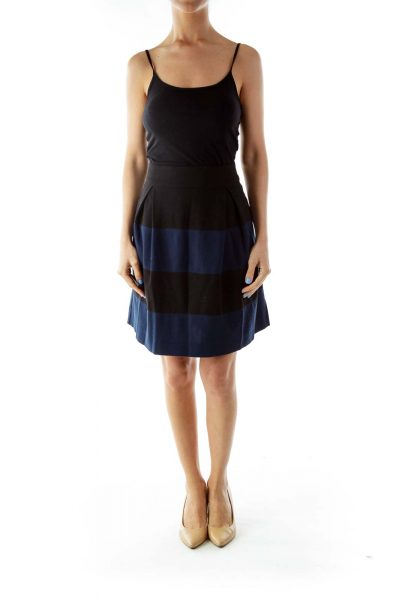 Black Blue Flared Striped Skirt