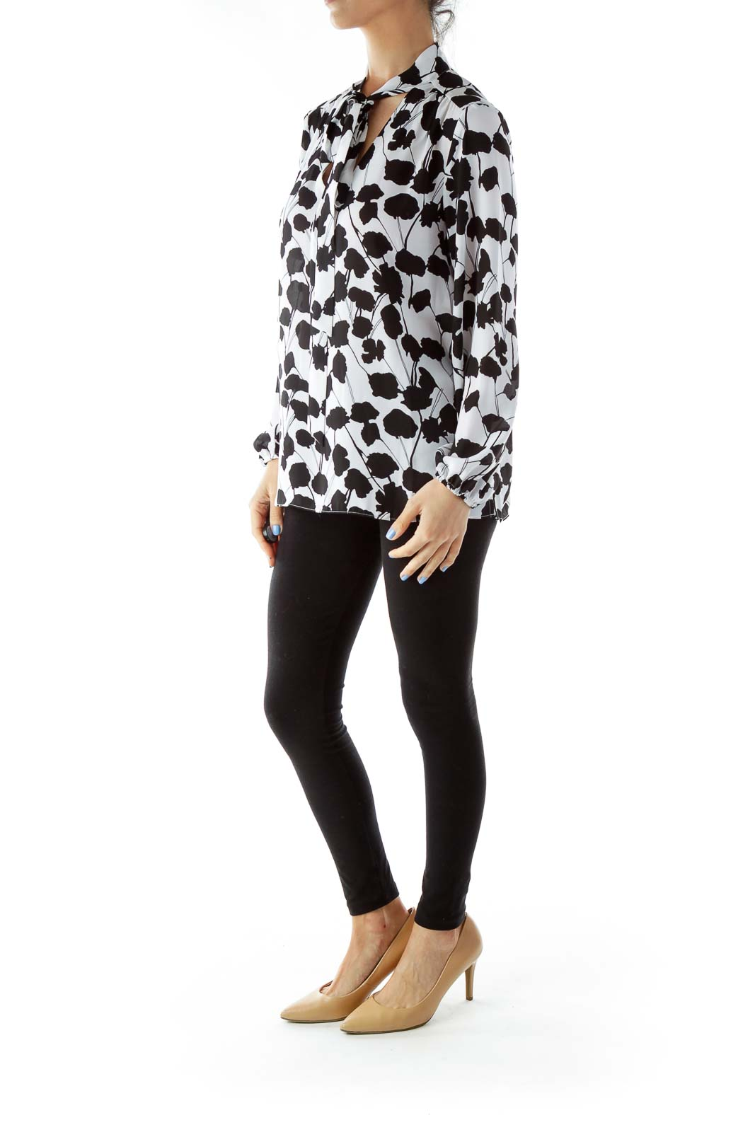 Black White Floral Print Blouse
