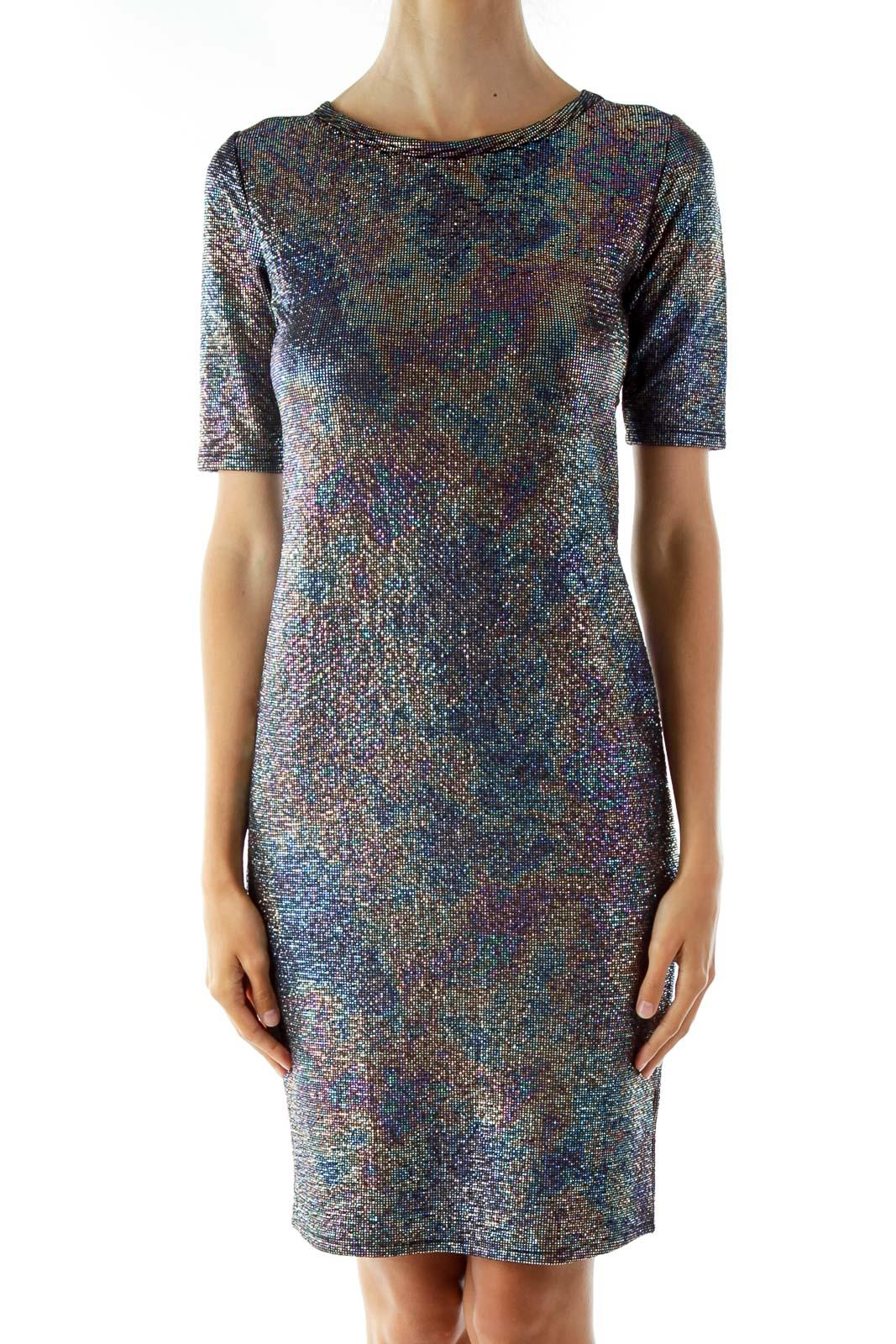 Black Multi-Color Scale Metallic Jersey Dress