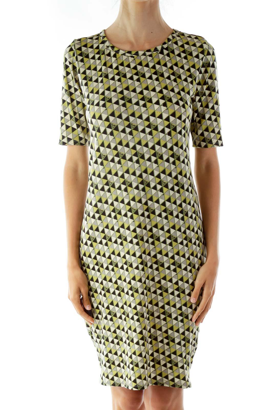Black and Green Print T-Shirt Dress