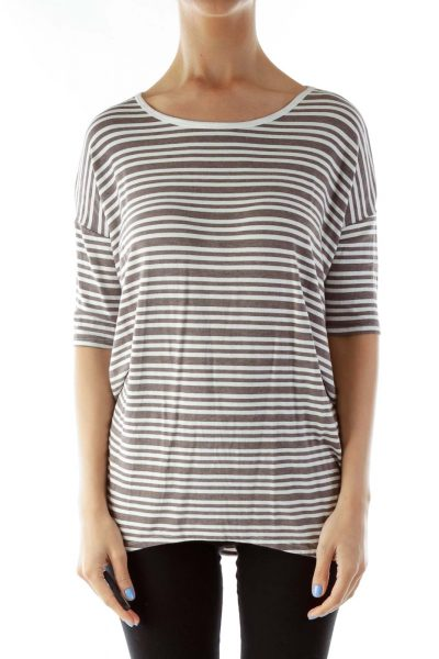 Brown White Striped T-Shirt Dress