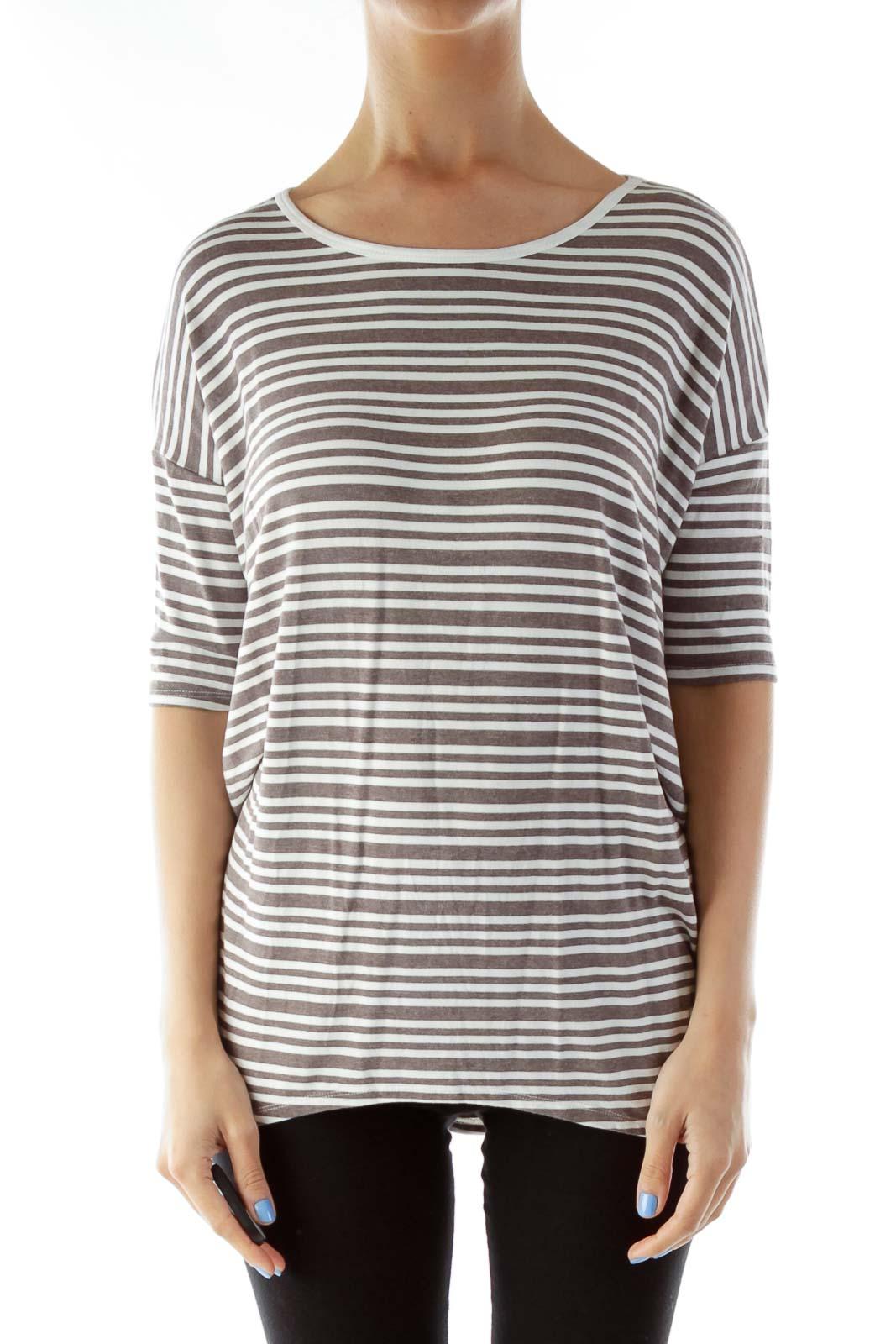 Brown White Striped T-Shirt Dress
