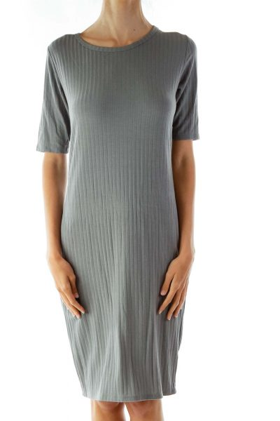 Gray Embossed Striped T-Shirt Dress