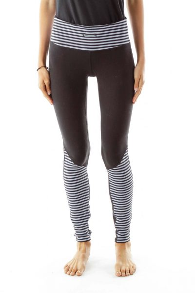 Black Gray Striped Sports Pants