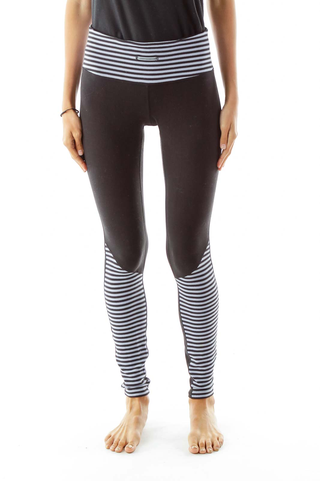 Black Gray Striped Sports Pants