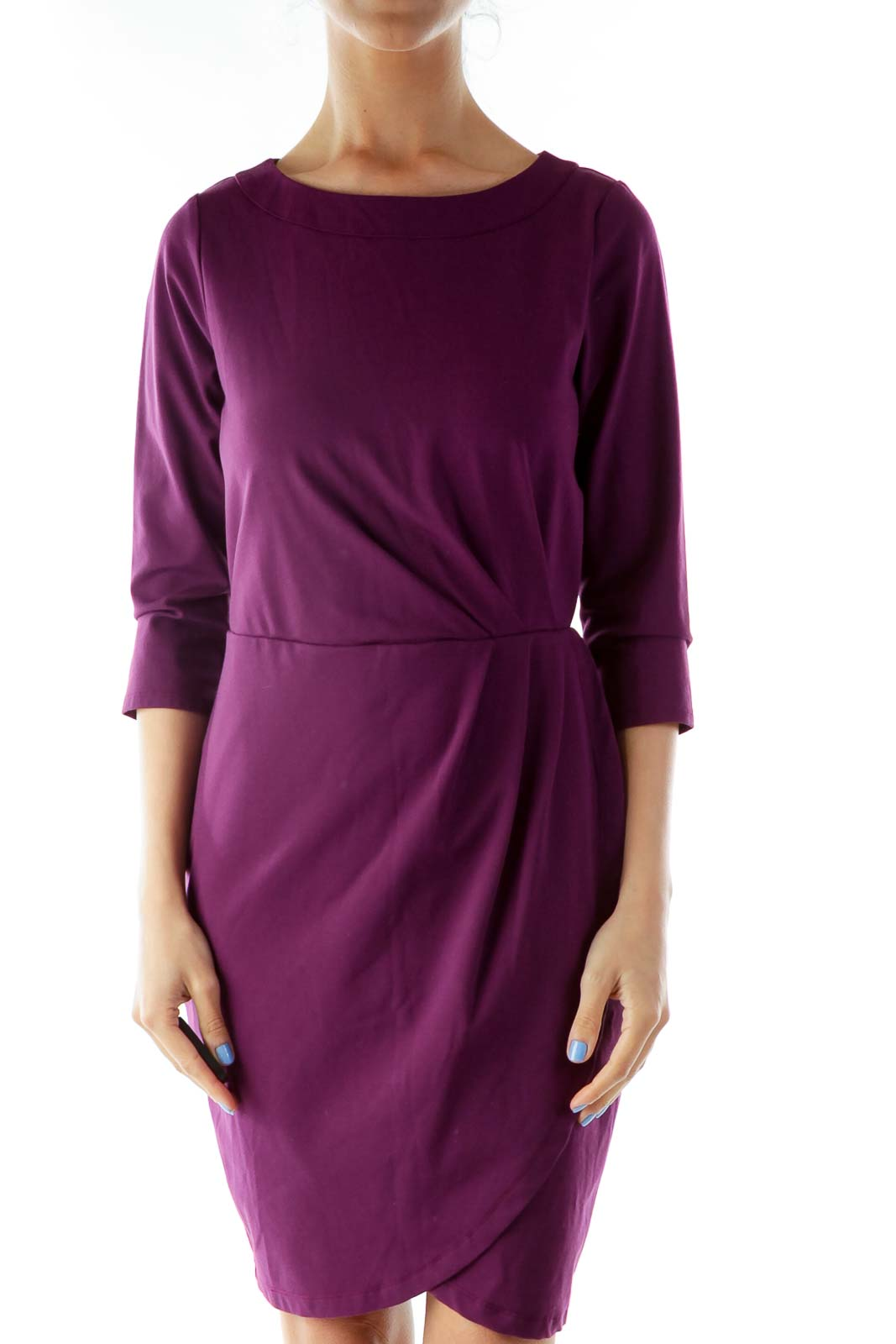 Purple Round Neck Work Dress