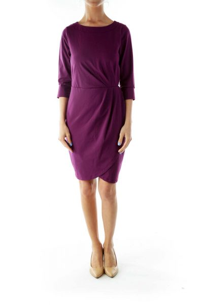 Purple Round Neck Work Dress