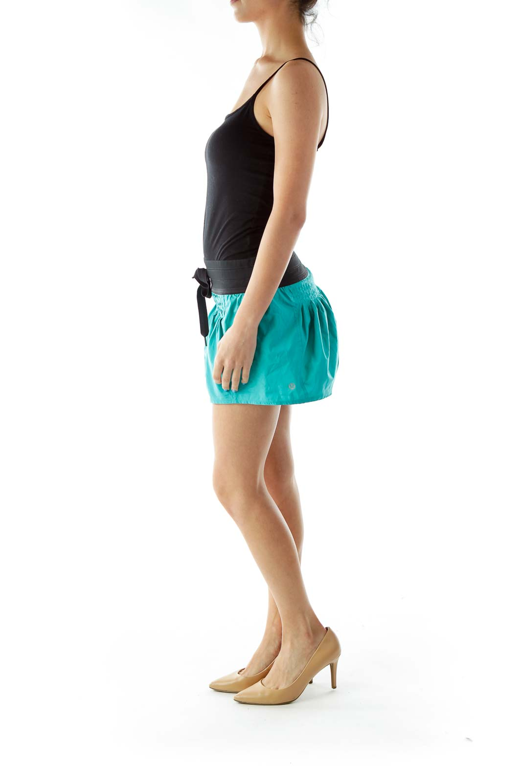 Blue Black Pleated Sports Skort
