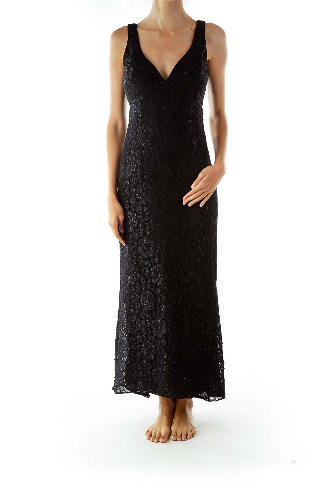 Black Lace Shimmer V-neck Sleeveless Evening Dress