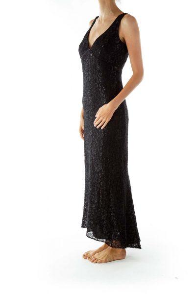 Black Lace Shimmer V-neck Sleeveless Evening Dress