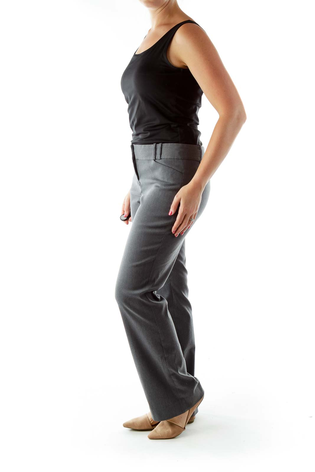Gray Straight-Leg Pants