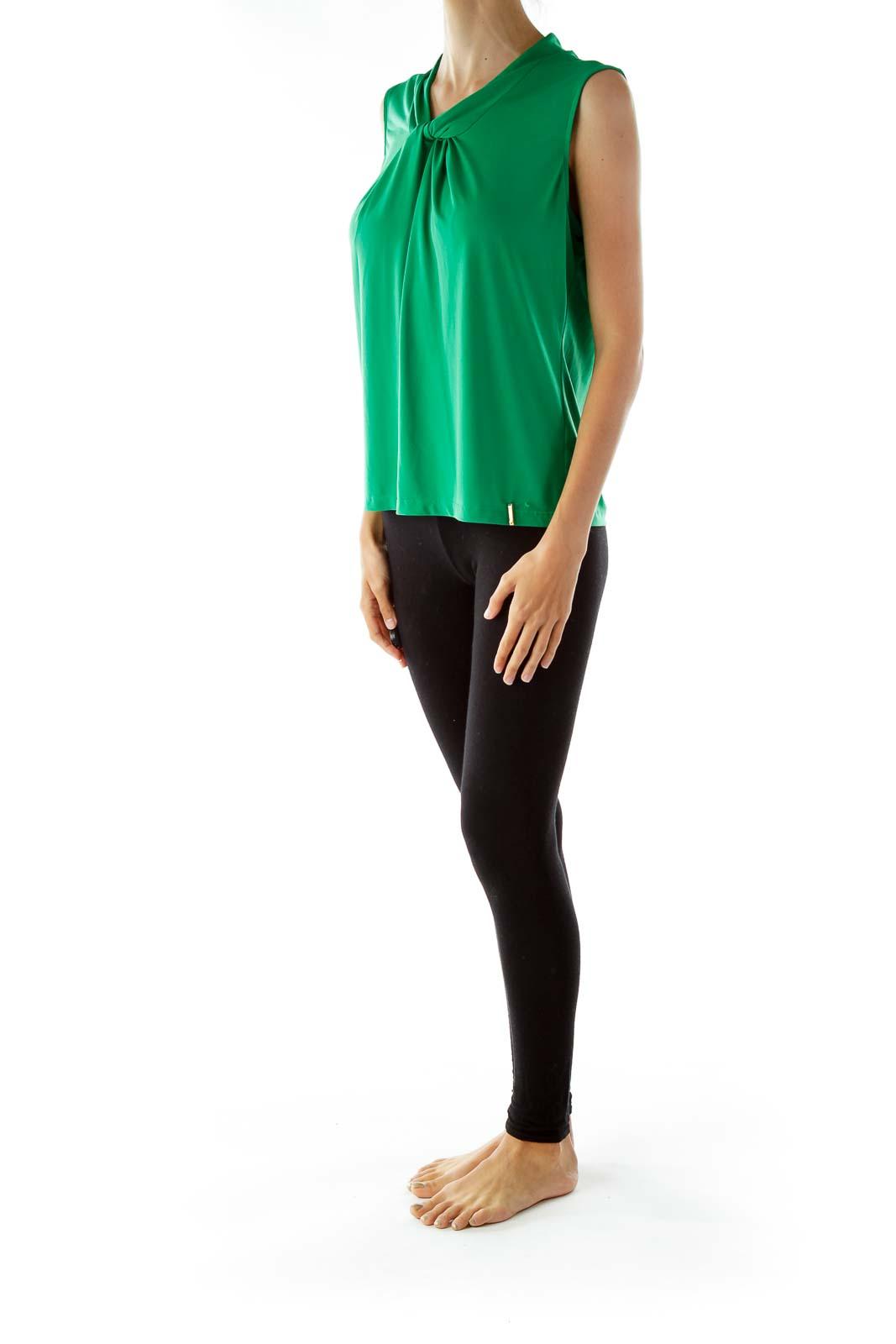 Green Sleeveless V-neck Blouse