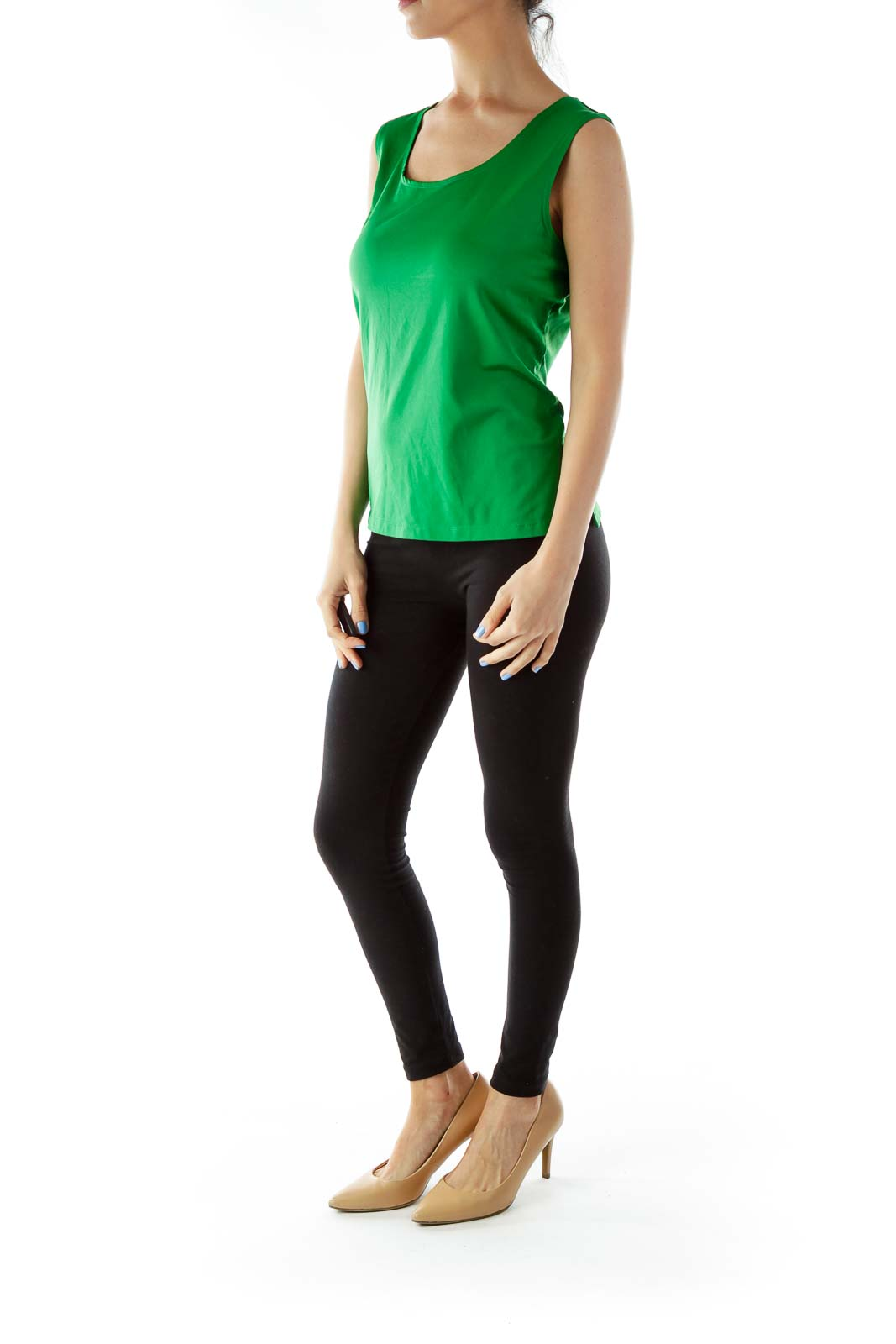 Green Sleeveless Round Neck Blouse