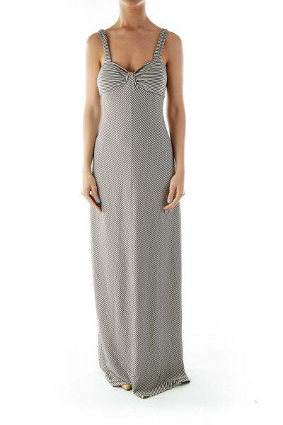 Brown White Striped Sleeveless Day Dress