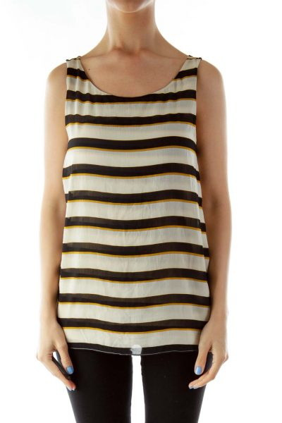 Brown Black Striped Sleeveless Blouse