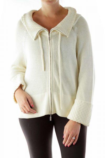 Cream Knit Zip Sweater