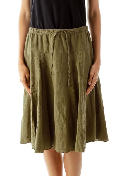 Green Flared Knee-Length Skirt