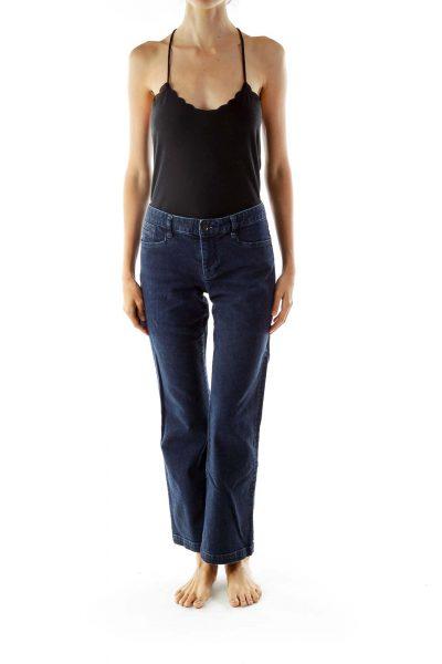 Blue Denim Wide Leg Jeans