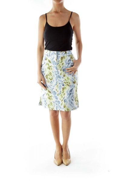 Blue Green Print Pencil Skirt