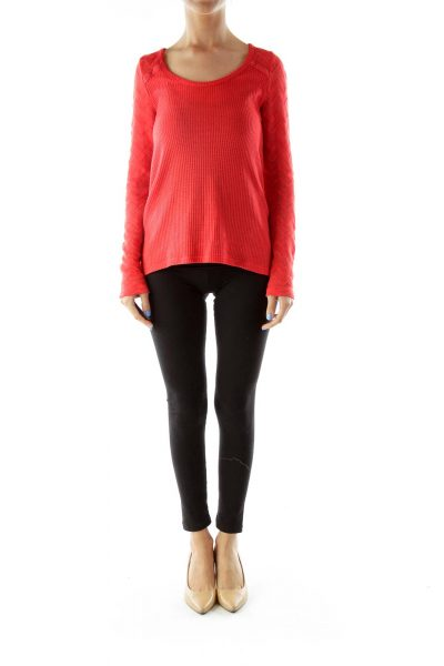 Red Jersey Knit Long Sleeve Top