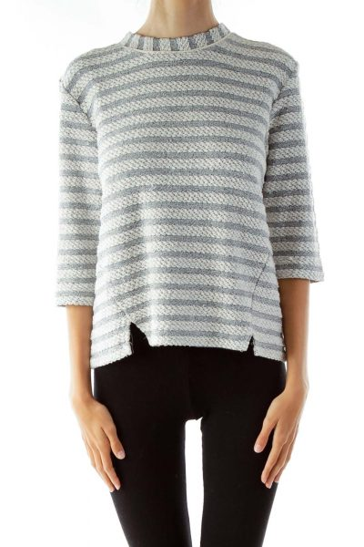 White Gray Striped Sweater