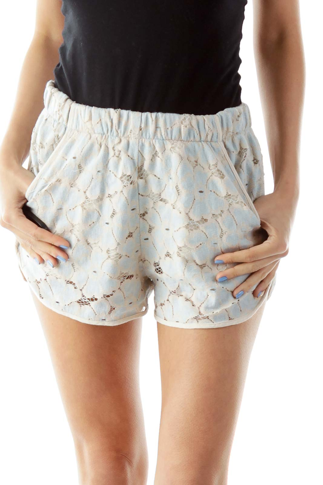Pink Blue Lace Shorts