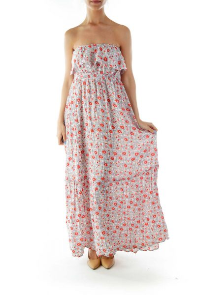 Cream Flower Print Strapless Day Dress