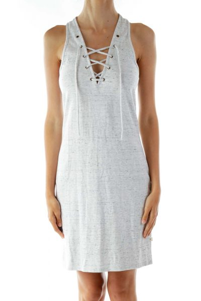 Gray White Mottled Lace-Up Sleeveless Day Dress