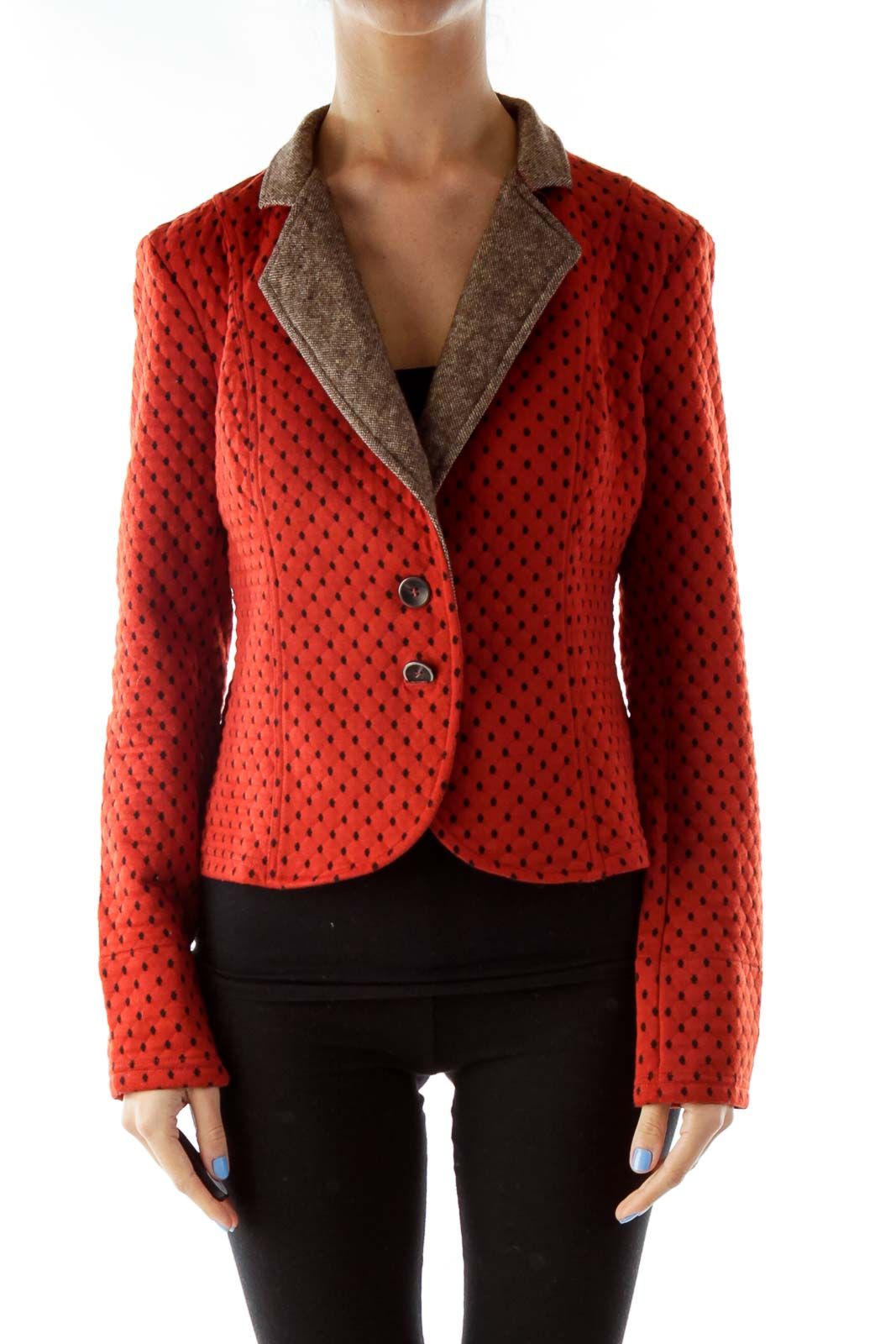 Orange Polka Dot Buttoned Blazer
