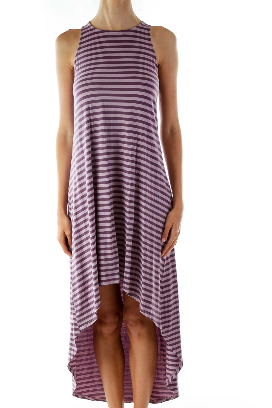 Purple Striped Jersey Day Dress