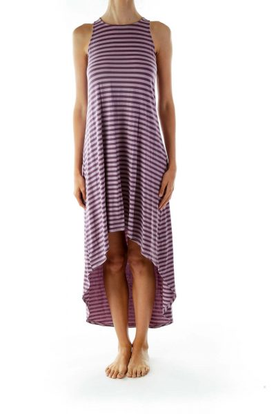 Purple Striped Jersey Day Dress