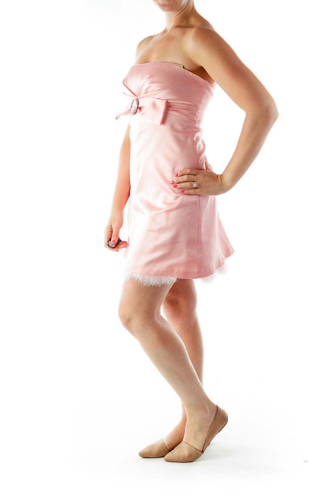Pink Strapless Cocktail Dress