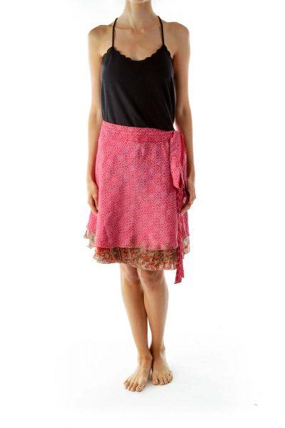 Brown Pink Wrap Mini Skirt