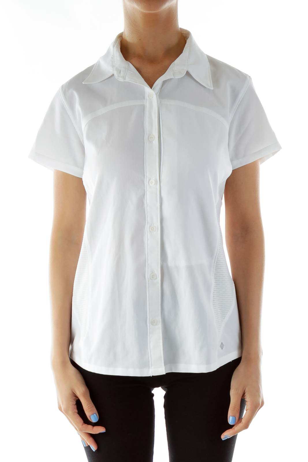 White Short Sleeve Collared Buttoned T-Shirt