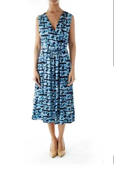 Blue V-Neck Print Day Dress