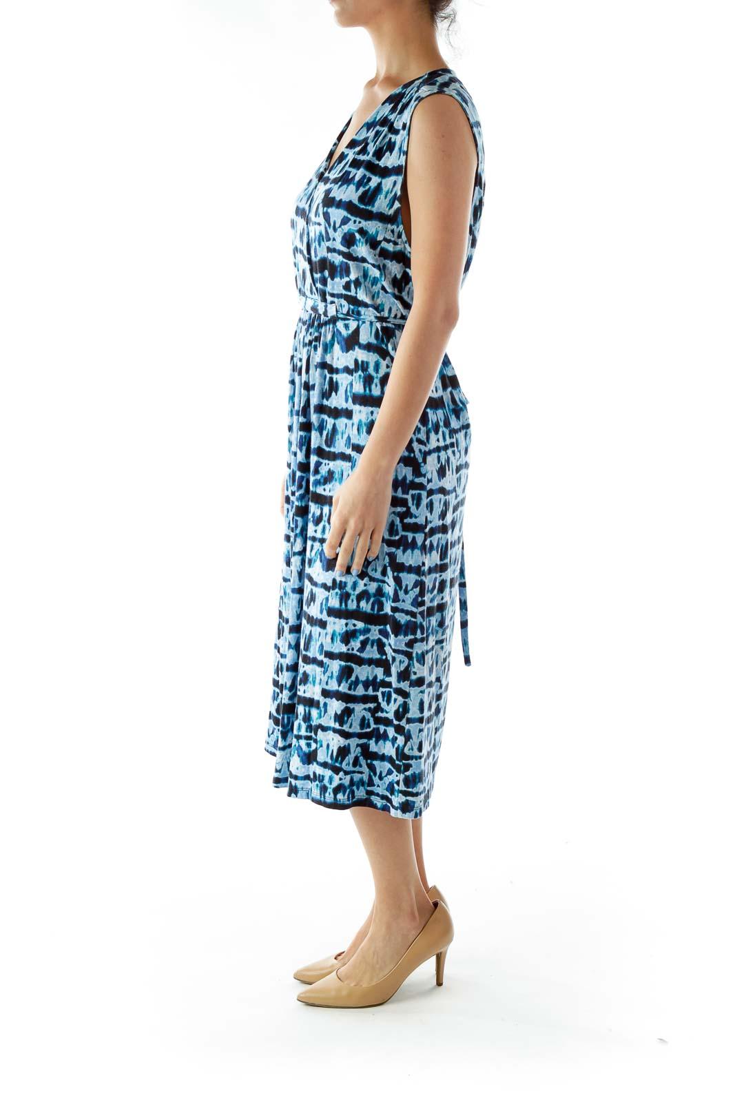 Blue V-Neck Print Day Dress