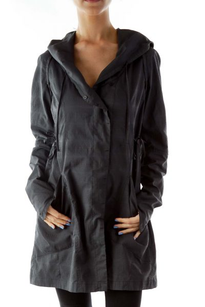 Gray Hooded Lightweight Jacket