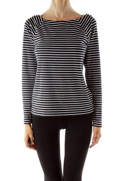 Black White Striped Round Neck Long Sleeve Shirt