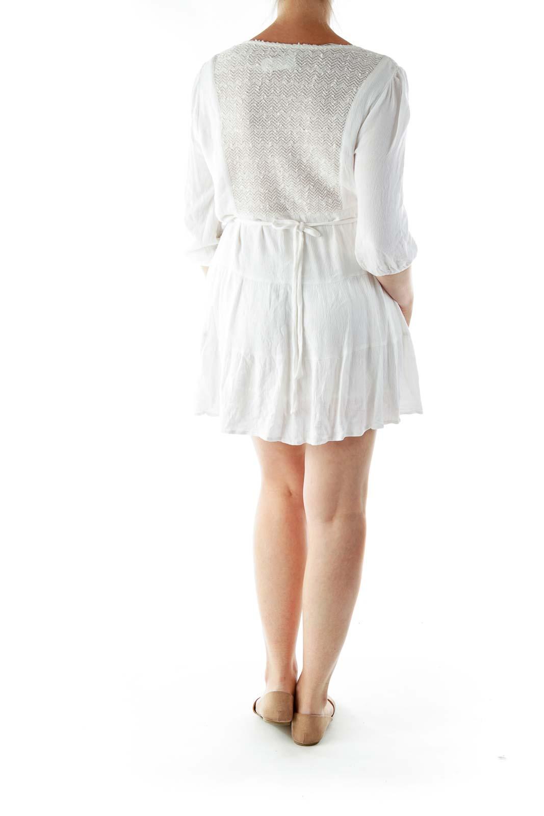 White Gold Beaded Day Dress
