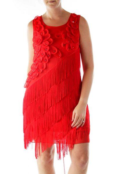 Red Floral Applique Fringe Shift Cocktail Dress