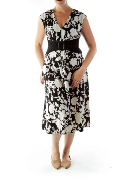 Black and White Belted Flower Empire Evening Dress