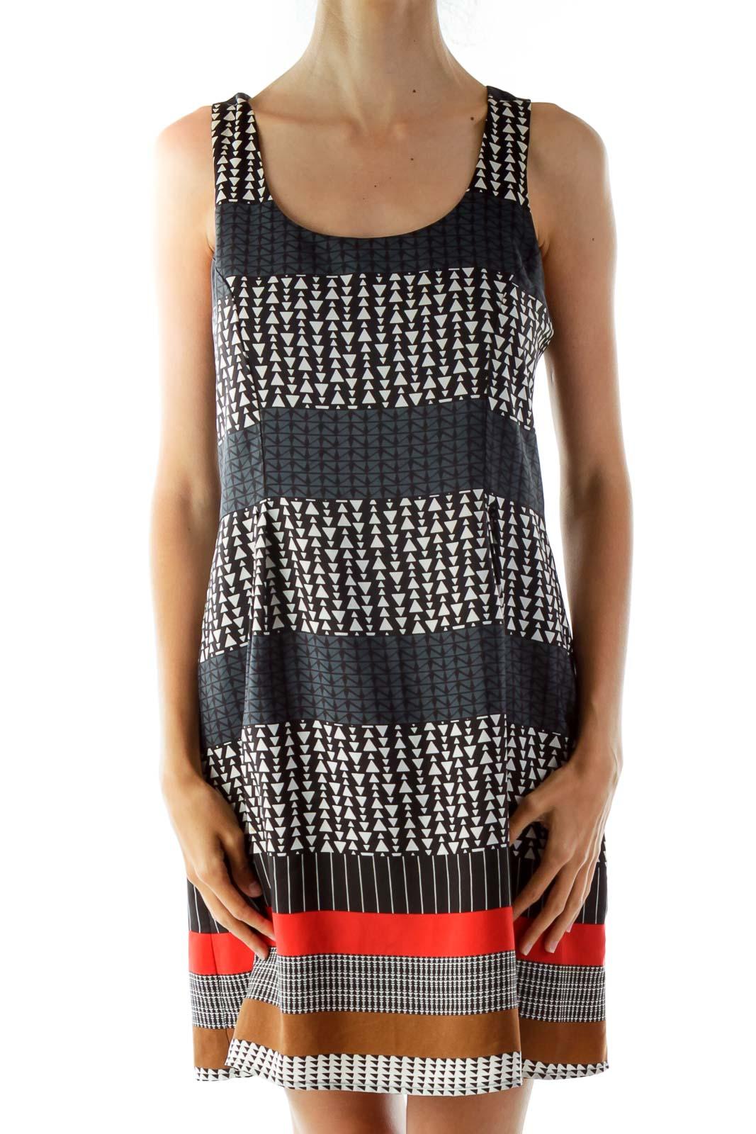 Black Geometric Printed Shift Day Dress