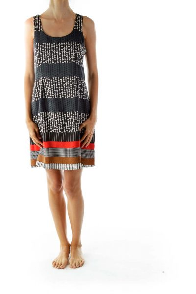 Black Geometric Printed Shift Day Dress