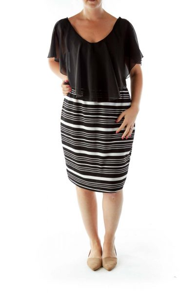 Black and White Striped Empire Evening Dress