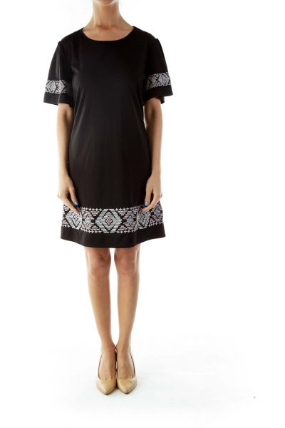 Black Embroidered Day Dress
